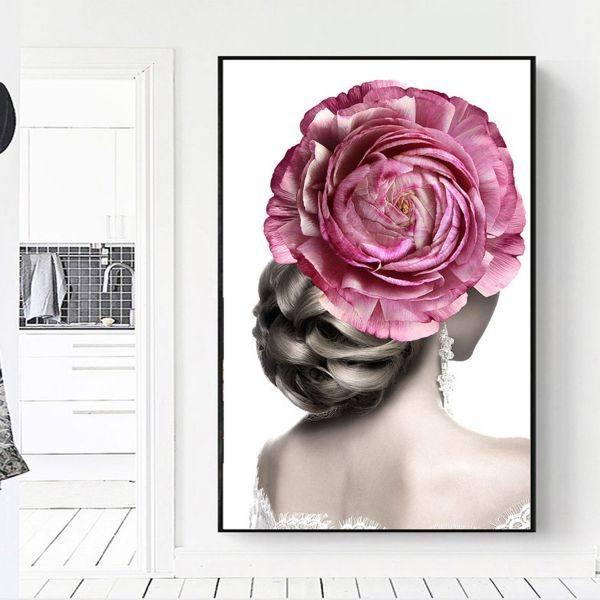 Tranh đơn cô gái búi tóc và bông hoa hồng CV0195
