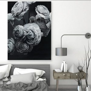 Tranh đơn hoa hồng trắng đen CV0198