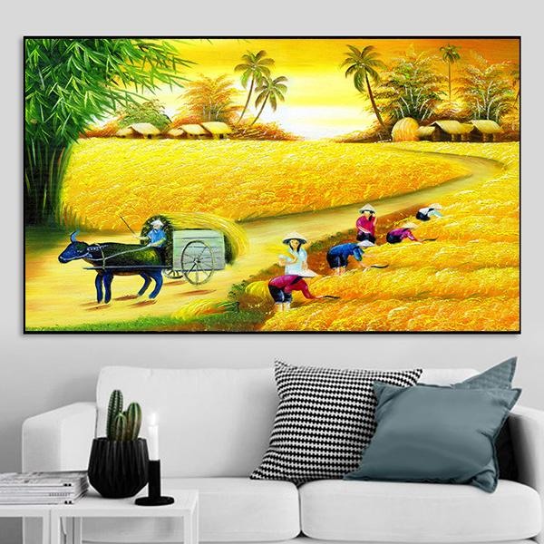 Tranh sơn dầu phong cảnh đồng quê cánh đồng lúa CV01A139