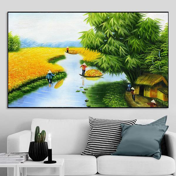 Tranh phong cảnh đồng quê cây đa bến nước CV01A140