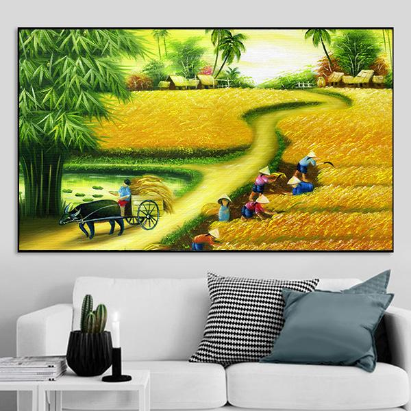 Tranh phong cảnh đồng quê Việt Nam nghệ thuật CV01A142