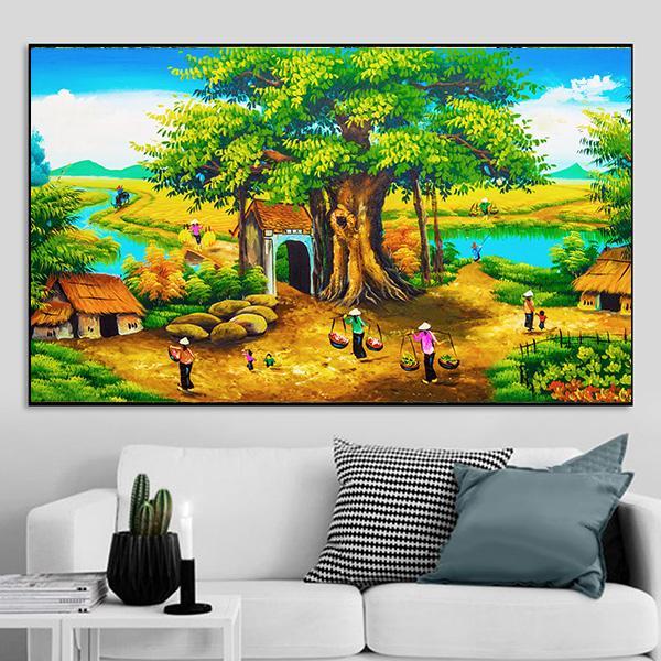 Tranh sơn dầu phong cảnh làng quê cây đa giếng nước sân đình CV01A143