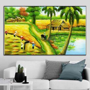 Tranh phong cảnh làng quê cảnh gặt lúa CV01A144
