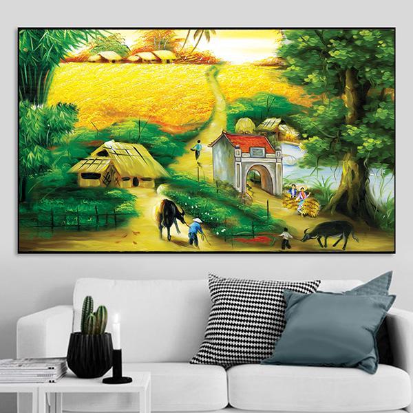 Tranh sơn dầu phong cảnh làng quê bắc bộ xưa CV01A148