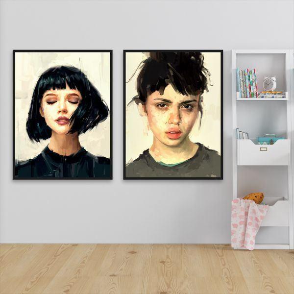 Bộ 2 tranh cô gái tóc đen ngắn CV0222