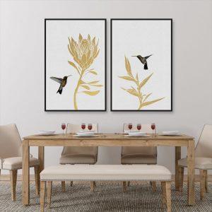 Bộ 2 tranh chim và hoa CV0223