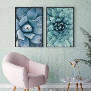 Bộ 2 tranh hoa sen đá xanh CV0229