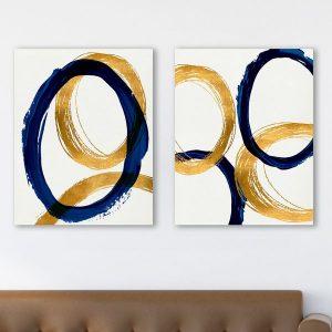 Bộ 2 tranh trừu tượng tròn CV0231