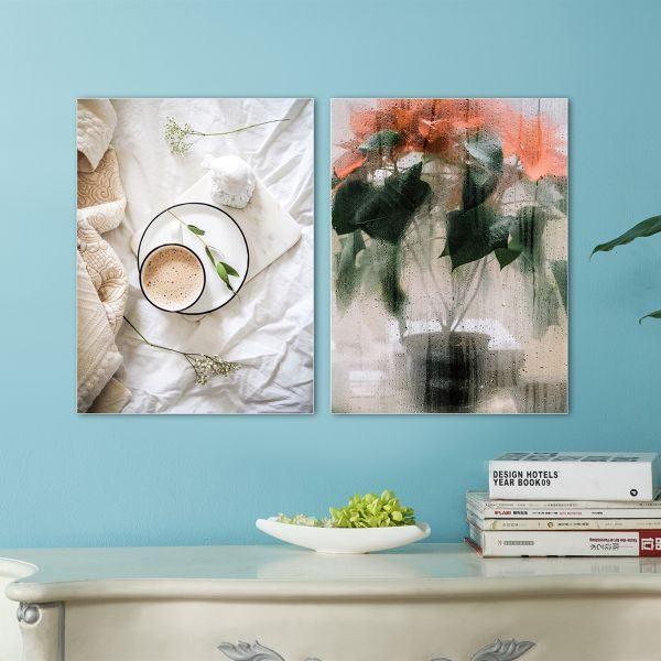 Bộ 2 tranh ly cafe và chậu cây hoa trạng nguyên CV0238