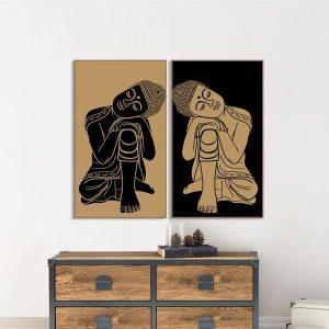 Bộ 2 tranh vẽ tượng phật CV0246