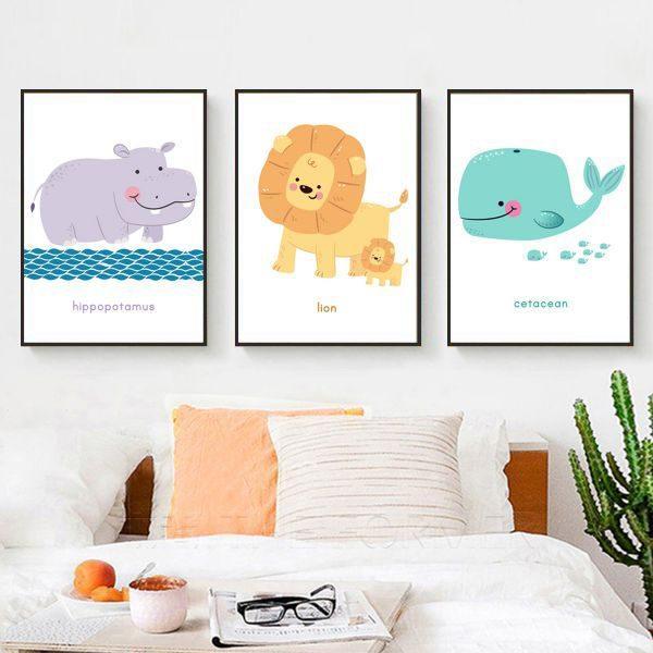 Bộ 3 tranh vẽ động vật hà mã, sư tử và cá voi CV03100