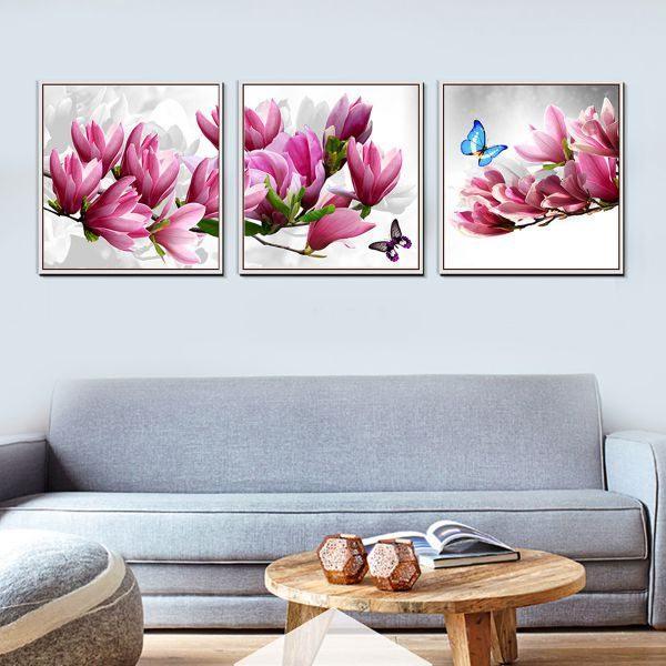 Bộ 3 tranh ghép hoa và bướm CV03101