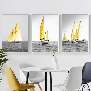Bộ 3 tranh thuyền buồm vàng CV03102