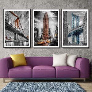 Bộ 3 tranh canvas kỳ quan cây cầu và tòa nhà CV03107