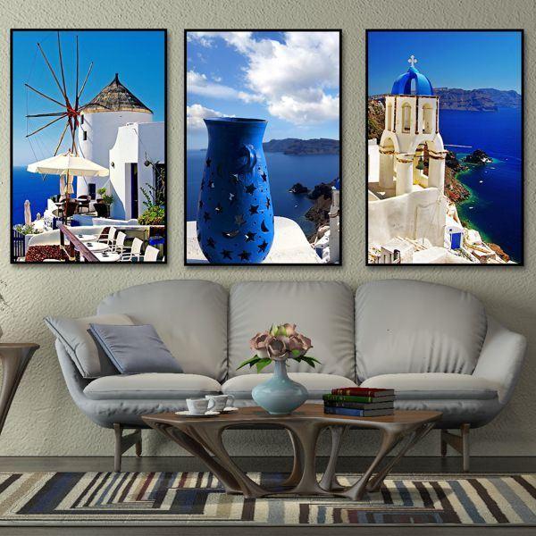 Bộ 3 tranh cảnh những ngôi nhà trắng ở Santorini CV03109