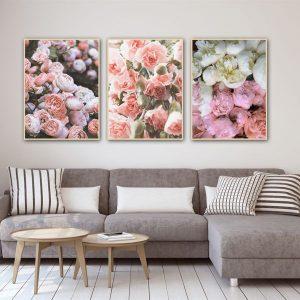 Bộ 3 tranh hoa hồng trắng CV03120