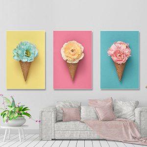 Bộ 3 tranh kem hoa hồng xanh vàng CV03123