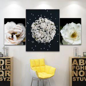 Bộ 3 tranh hoa trắng nền đen CV03125