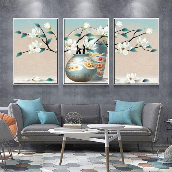 Bộ 3 tranh ghép bình hoa xanh trắng CV03126