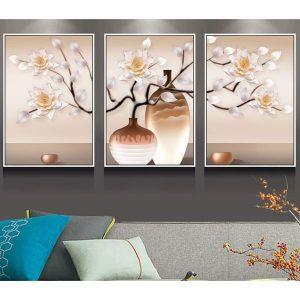 Bộ 3 tranh ghép bình hoa nâu trắng CV03127