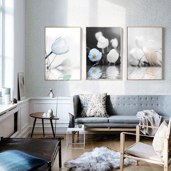 Bộ 3 tranh hoa tulip trắng xanh CV03128
