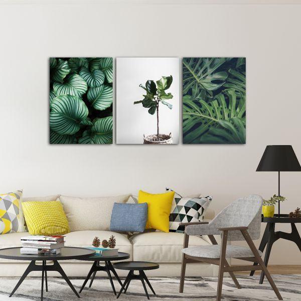 Bộ 3 tranh cây lá xanh CV03129