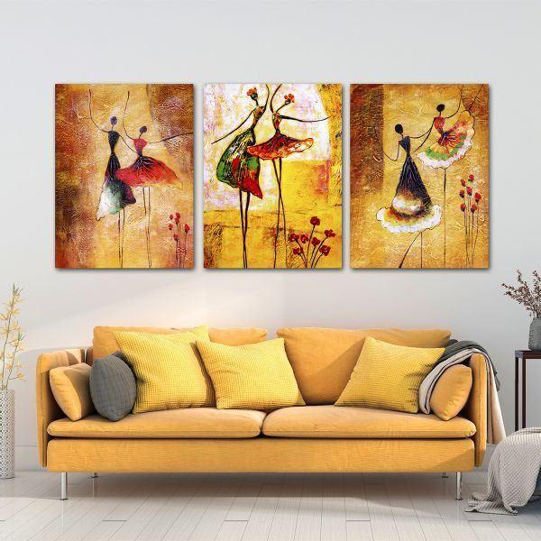 Bộ 3 tranh vẽ các cô gái múa CV03133