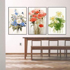 Bộ 3 tranh vẽ các loài hoa CV03136