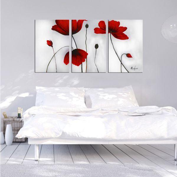 Bộ 3 tranh ghép hoa đỏ CV03140