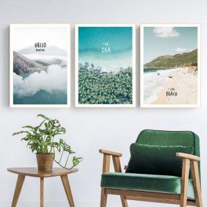 Bộ 3 Tranh Phong Cảnh Thiên Nhiên Hiện Đại Mây Núi Bãi Biển Xanh Hello Mountain The Sea I Like Beach CV03141