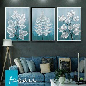 Bộ 3 tranh vẽ cành lá xanh trắng CV03144