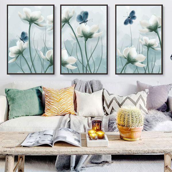 Bộ 3 tranh bướm và hoa CV03147