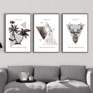 Bộ 3 tranh trừu tượng đầu hươu,cây dừa và rừng cây CV03150