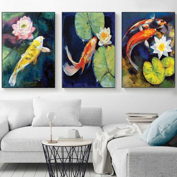 Bộ 3 tranh vẽ cá và hoa lá sen CV03151
