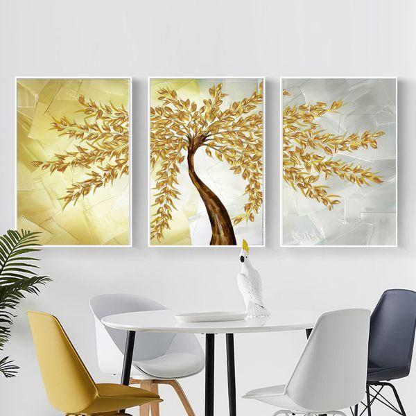 Bộ 3 tranh ghép cây lá vàng CV03152