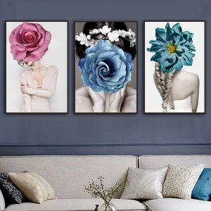 Bộ 3 tranh cô gái và hoa hồng xanh CV03154