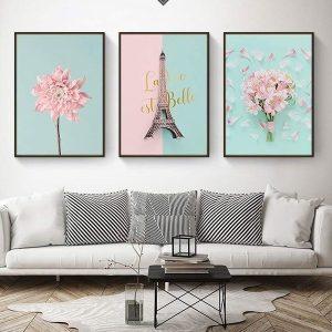 bộ 3 tranh hoa hồng xanh dễ thương CV0364