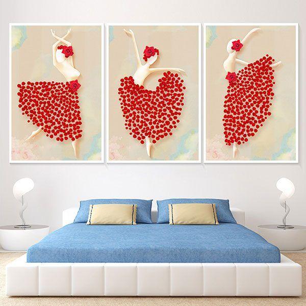 Bộ 3 tranh cô gái váy đỏ mua bale CV0365