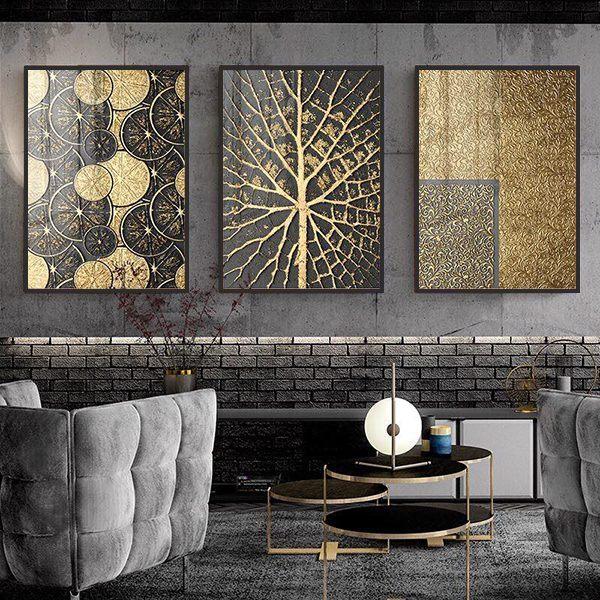 Bộ 3 tranh trừu tượng nghệ thuật đen vàng CV0368