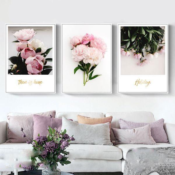 Bộ 3 tranh hoa màu hồng CV0370