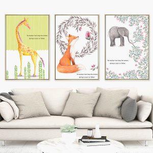 Bộ 3 tranh vẽ động vật hoa lá CV0372