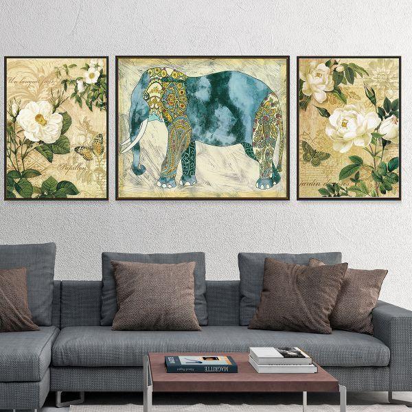 Bộ 3 tranh vẽ voi thổ cẩm và hoa CV0374