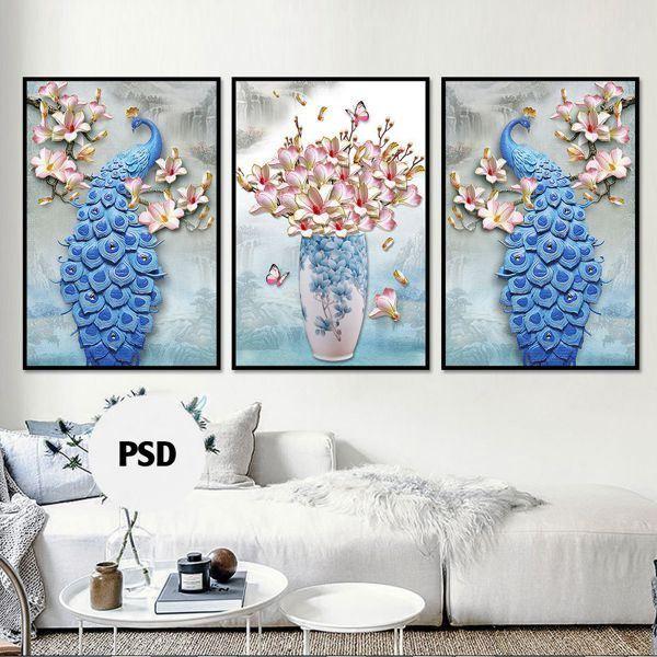 Bộ 3 tranh ghép con công và bình hoa xanh CV0376