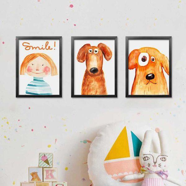 Bộ 3 tranh vẽ bé gái và chú chó CV0382