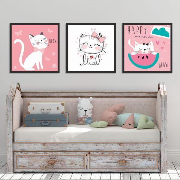 Bộ 3 tranh vẽ mèo dễ thương CV0384