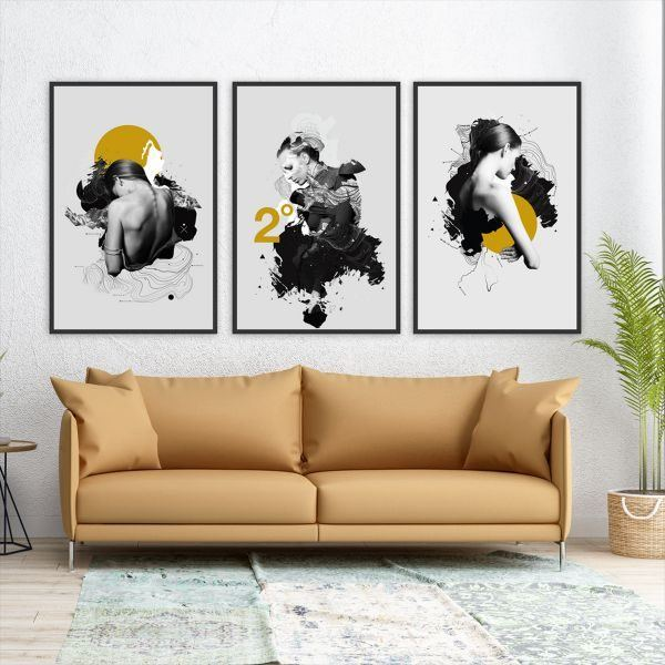 Bộ 3 tranh trừu tượng cô gái đen vàng CV0385