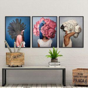 Bộ 3 tranh cô gái và hoa,lông vũ CV0386
