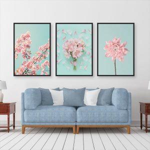 Bộ 3 tranh hoa màu hồng CV0387