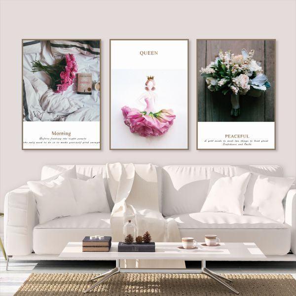 Bộ 3 tranh bó hoa hồng CV0392