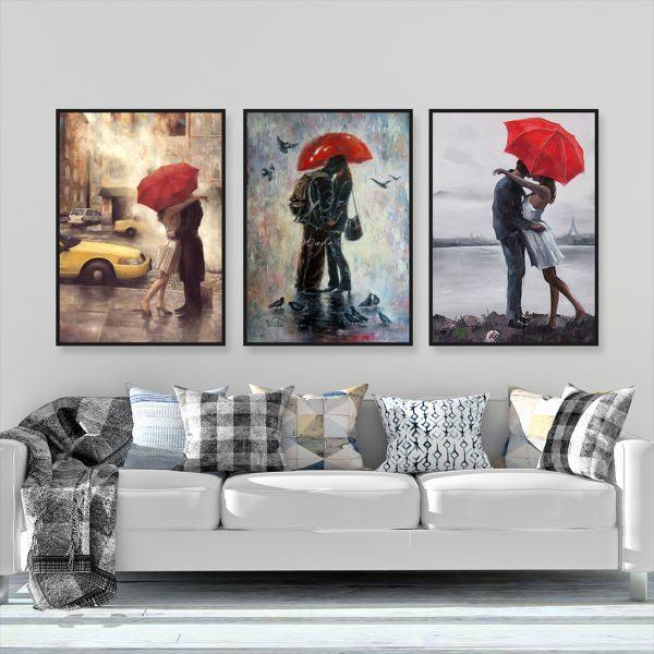 Bộ 3 tranh cặp đôi che ô đỏ CV0393
